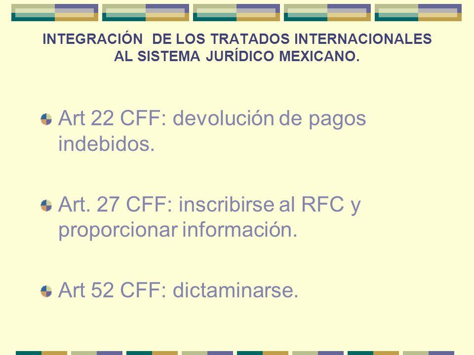 Art 22 CFF: devolución de pagos indebidos.