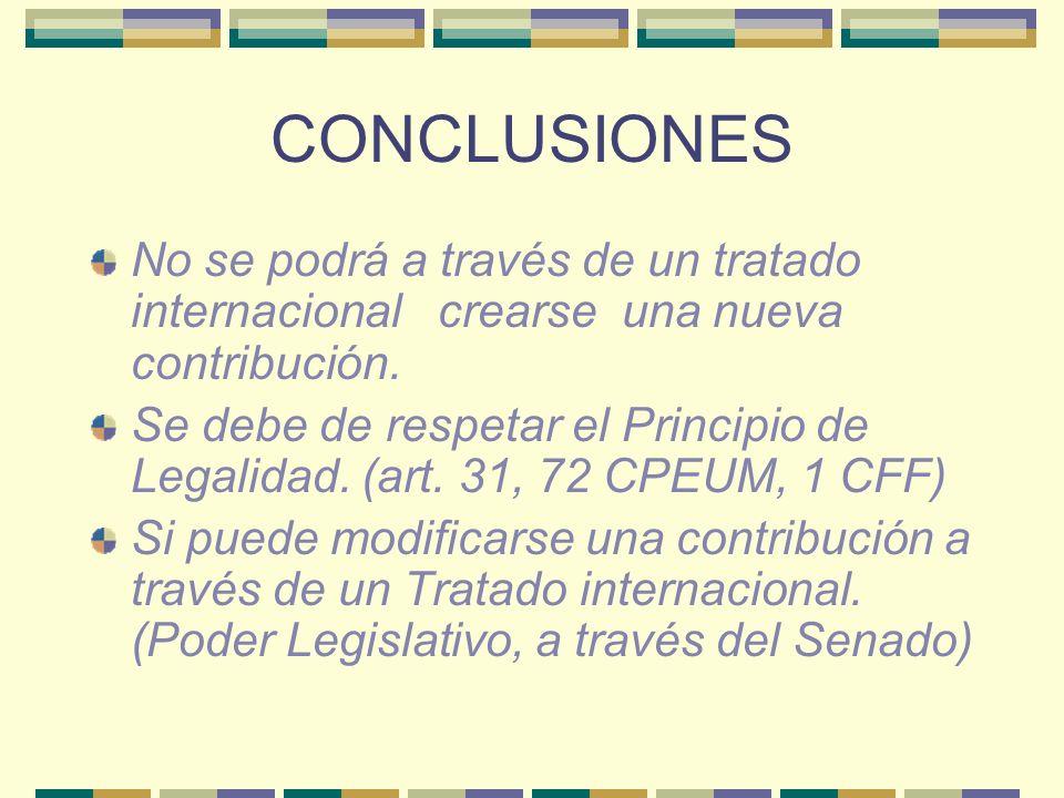 CONCLUSIONES No se podrá a través de un tratado internacional crearse una nueva contribución.