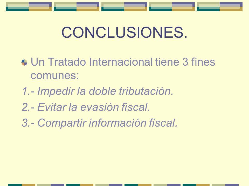 CONCLUSIONES. Un Tratado Internacional tiene 3 fines comunes: