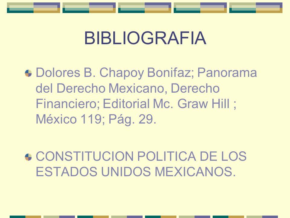 BIBLIOGRAFIA Dolores B. Chapoy Bonifaz; Panorama del Derecho Mexicano, Derecho Financiero; Editorial Mc. Graw Hill ; México 119; Pág. 29.