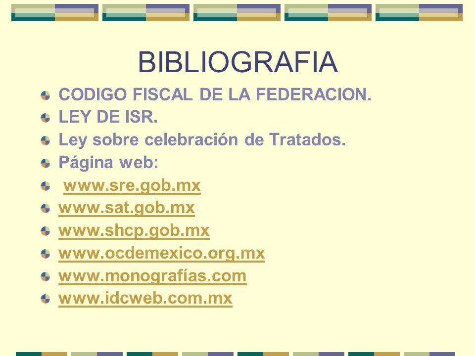 BIBLIOGRAFIA CODIGO FISCAL DE LA FEDERACION. LEY DE ISR.