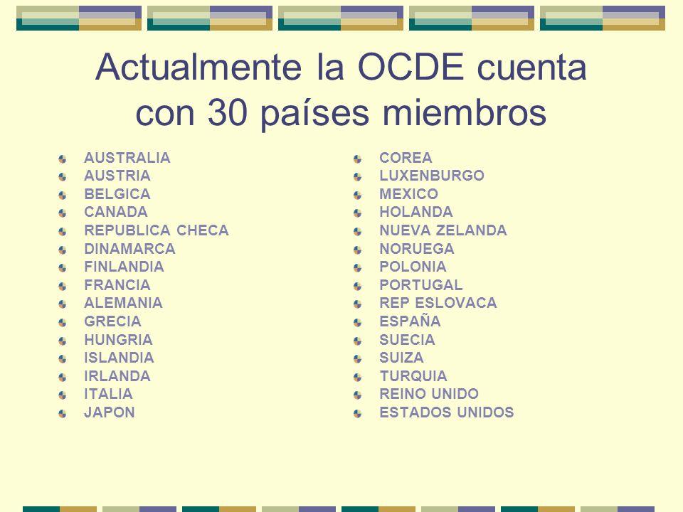 Actualmente la OCDE cuenta con 30 países miembros