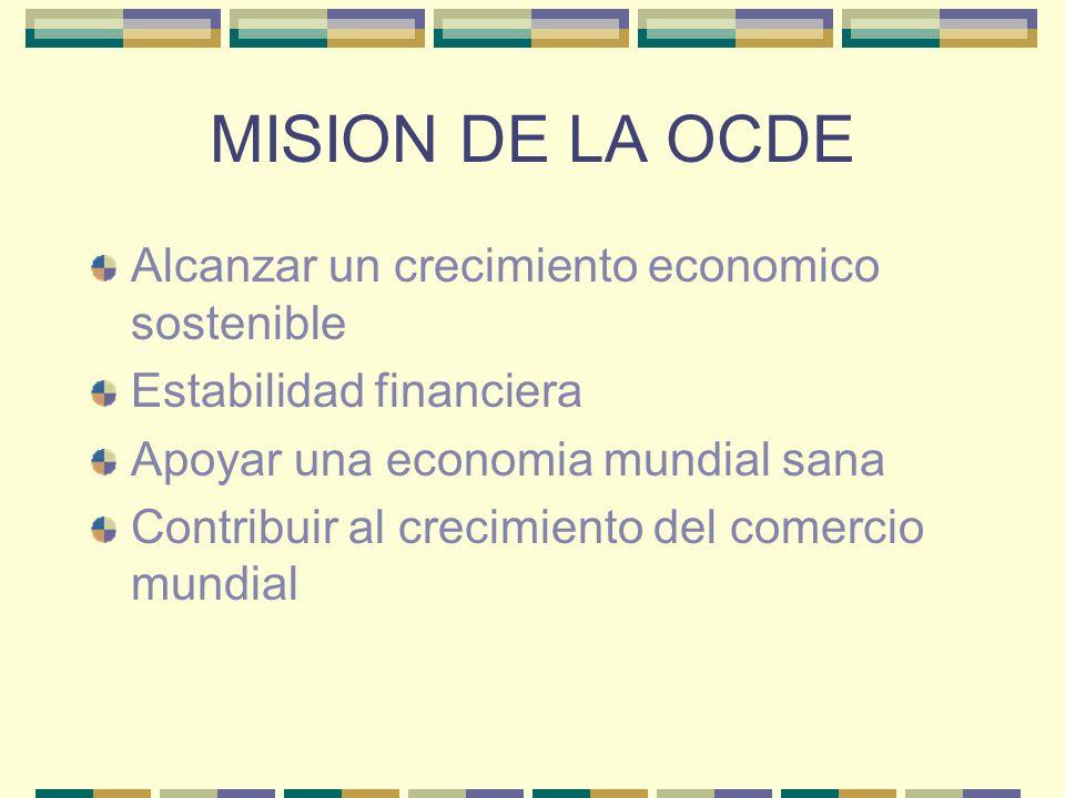 MISION DE LA OCDE Alcanzar un crecimiento economico sostenible