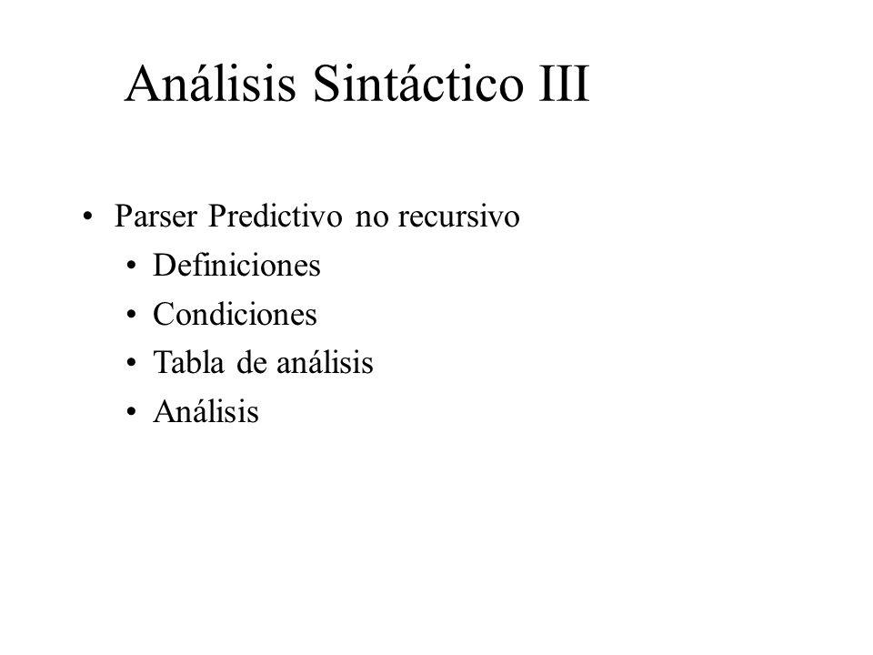 Análisis Sintáctico III