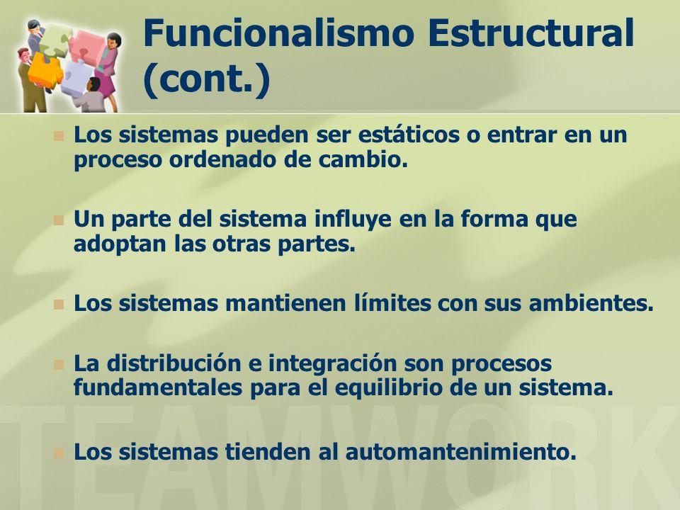 Funcionalismo Estructural (cont.)