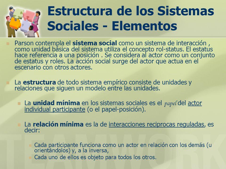 Estructura de los Sistemas Sociales - Elementos
