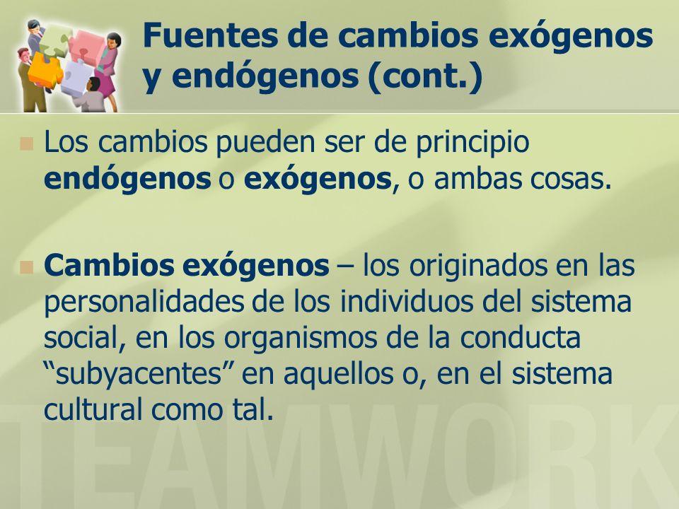 Fuentes de cambios exógenos y endógenos (cont.)