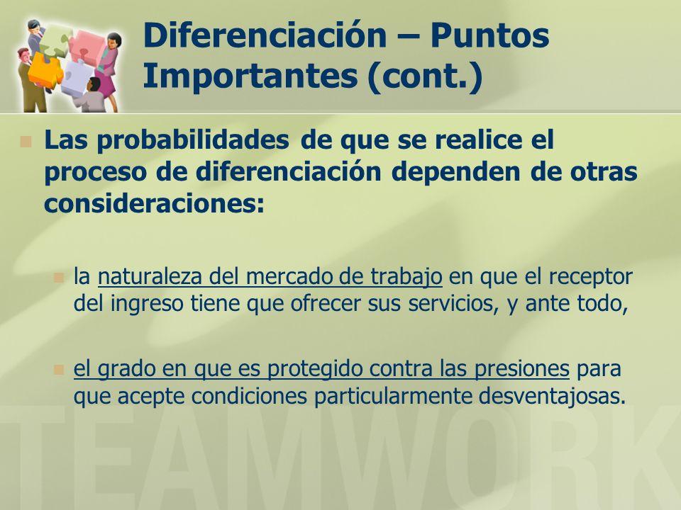 Diferenciación – Puntos Importantes (cont.)
