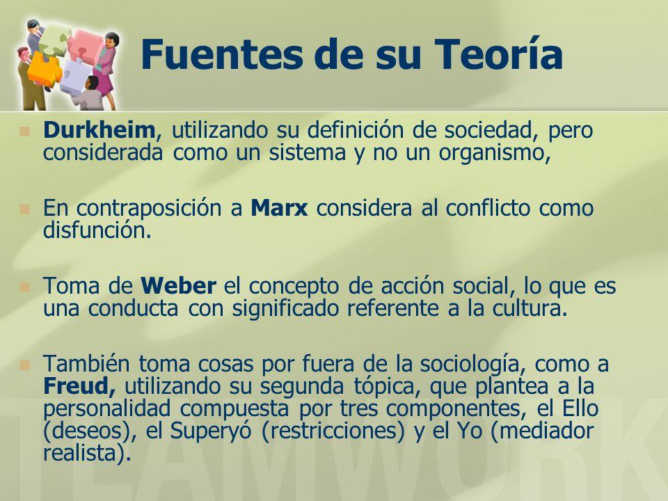 Fuentes de su Teoría Durkheim, utilizando su definición de sociedad, pero considerada como un sistema y no un organismo,