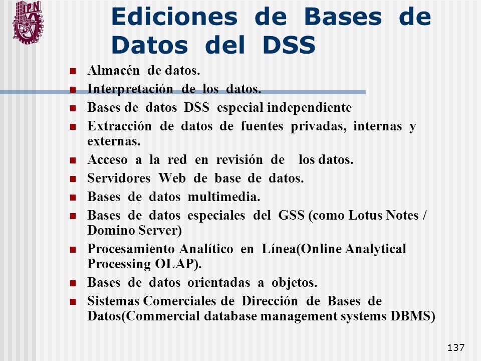 Ediciones de Bases de Datos del DSS
