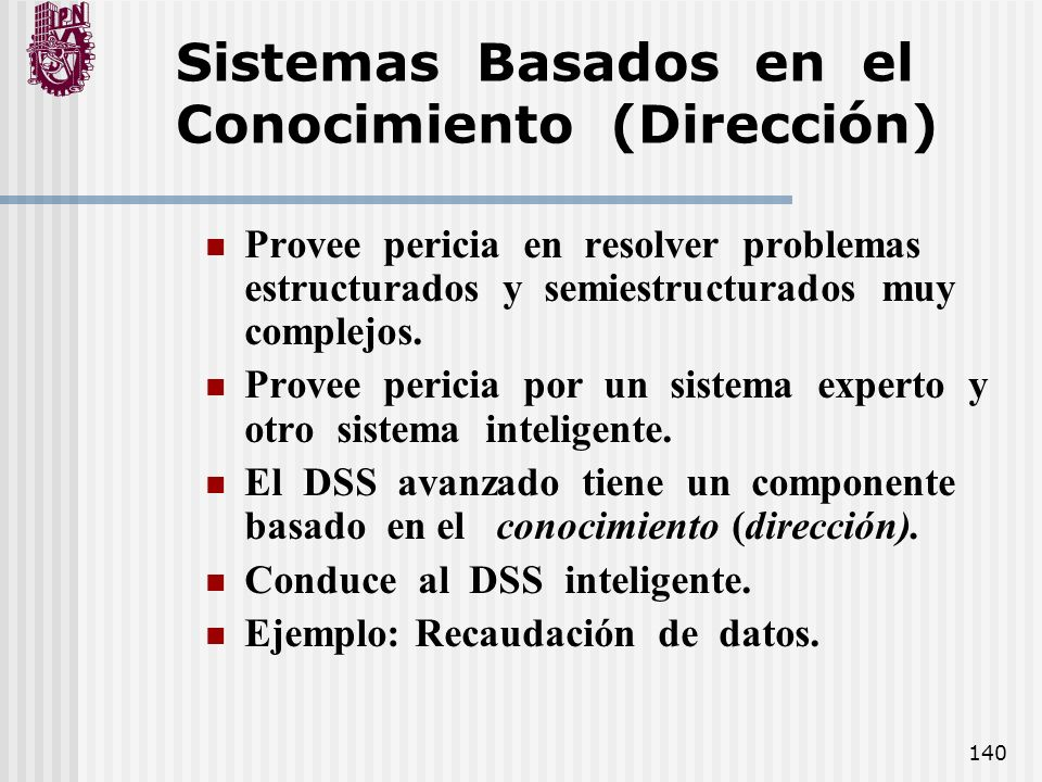 Sistemas Basados en el Conocimiento (Dirección)