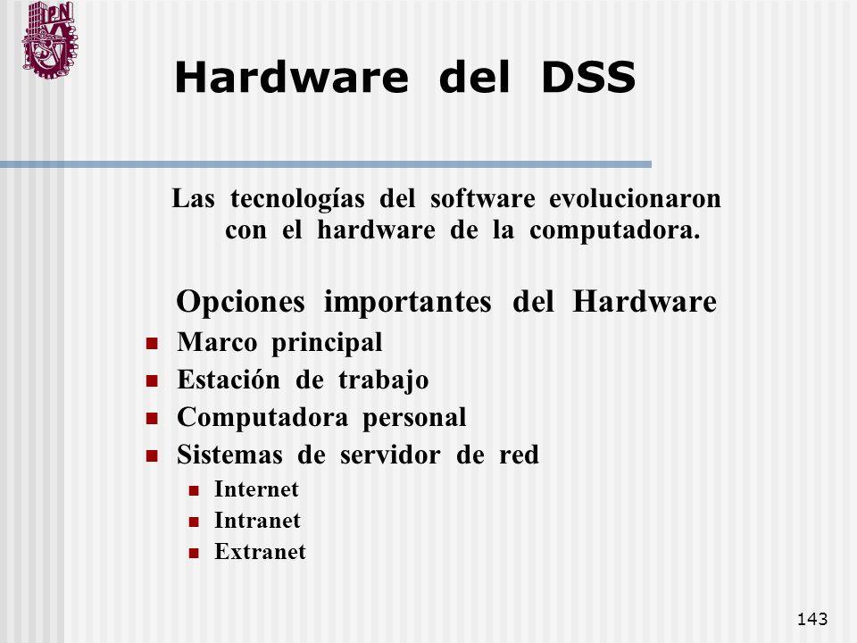 Opciones importantes del Hardware