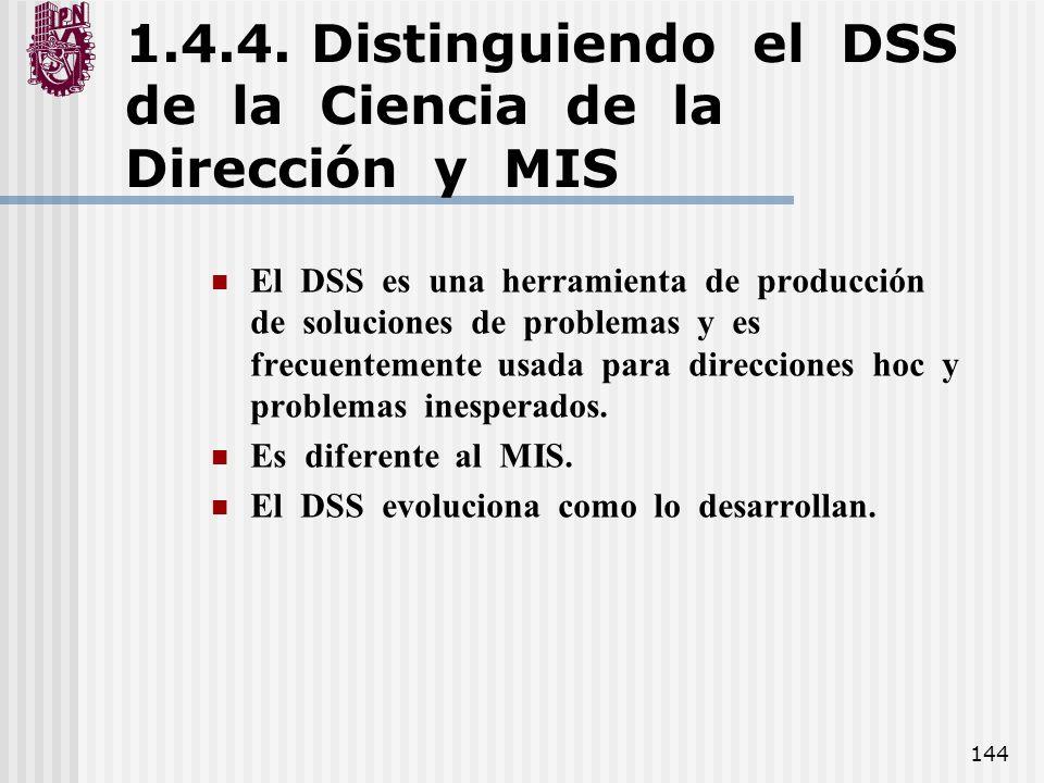1.4.4. Distinguiendo el DSS de la Ciencia de la Dirección y MIS