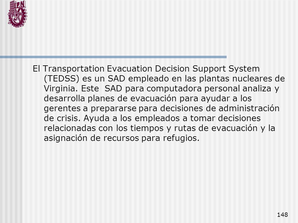 El Transportation Evacuation Decision Support System (TEDSS) es un SAD empleado en las plantas nucleares de Virginia.