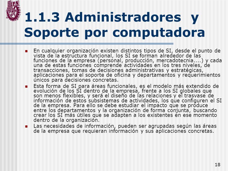 1.1.3 Administradores y Soporte por computadora