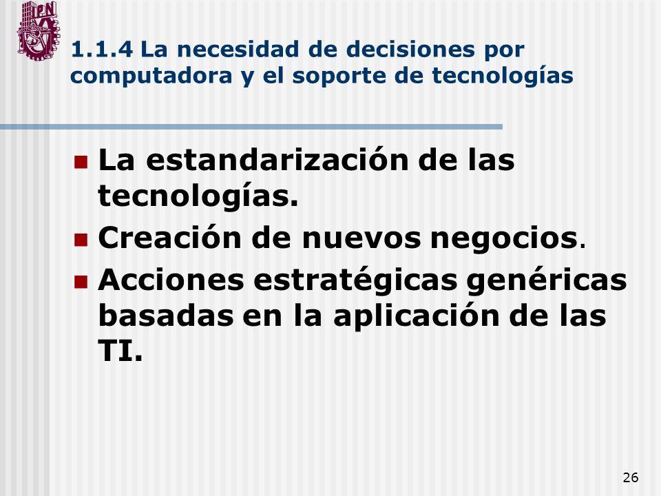 La estandarización de las tecnologías. Creación de nuevos negocios.