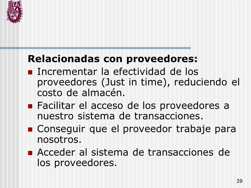 Relacionadas con proveedores: