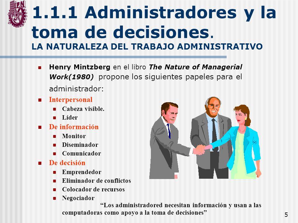 1. 1. 1 Administradores y la toma de decisiones