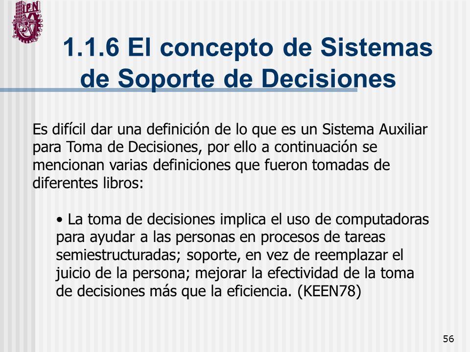 1.1.6 El concepto de Sistemas de Soporte de Decisiones