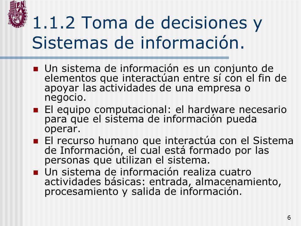 1.1.2 Toma de decisiones y Sistemas de información.