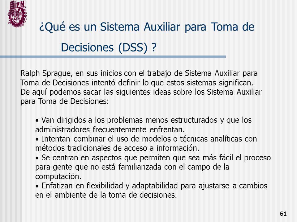 ¿Qué es un Sistema Auxiliar para Toma de Decisiones (DSS)