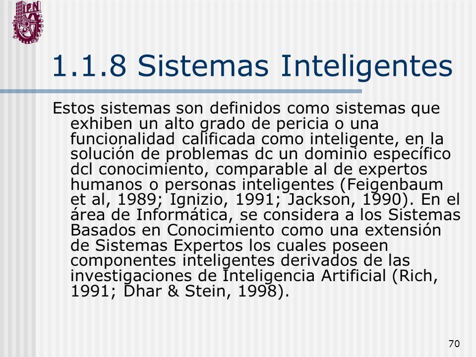 1.1.8 Sistemas Inteligentes