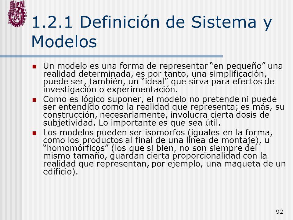1.2.1 Definición de Sistema y Modelos