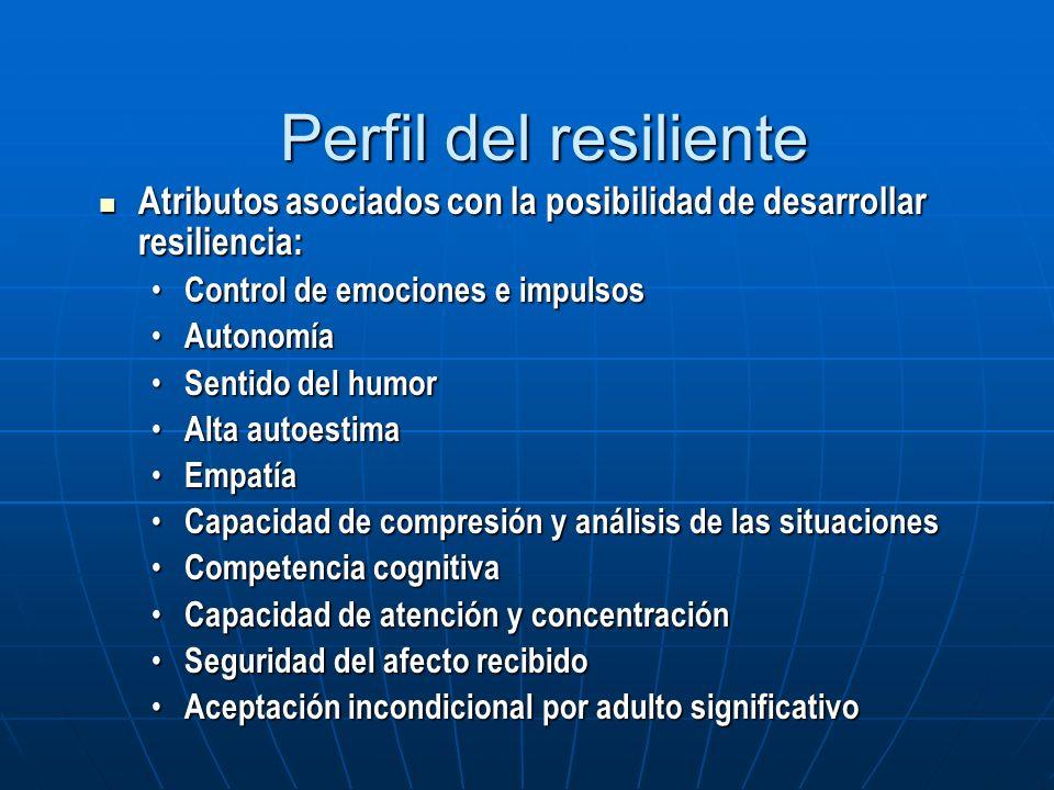 Perfil del resiliente Atributos asociados con la posibilidad de desarrollar resiliencia: Control de emociones e impulsos.