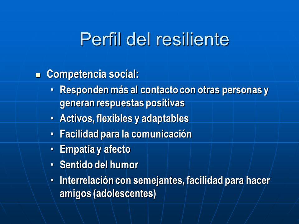 Perfil del resiliente Competencia social: