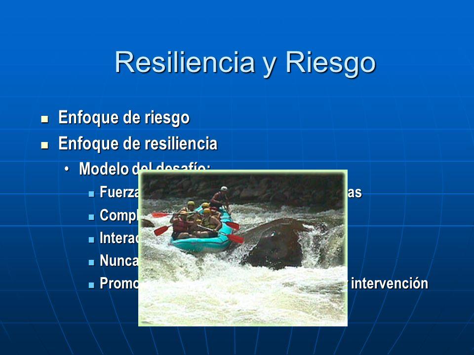 Resiliencia y Riesgo Enfoque de riesgo Enfoque de resiliencia