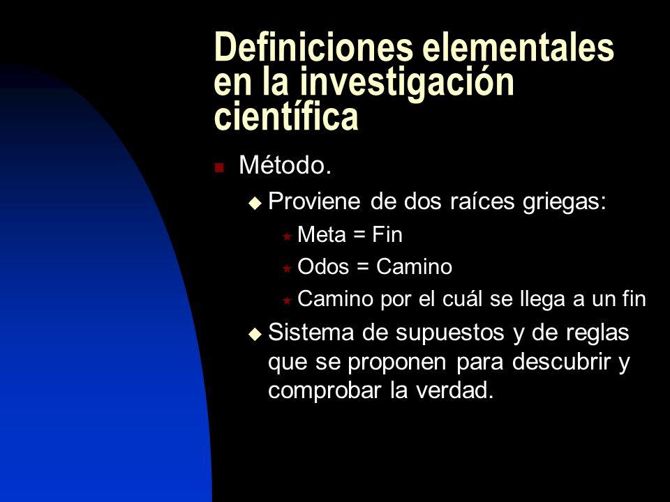 Definiciones elementales en la investigación científica