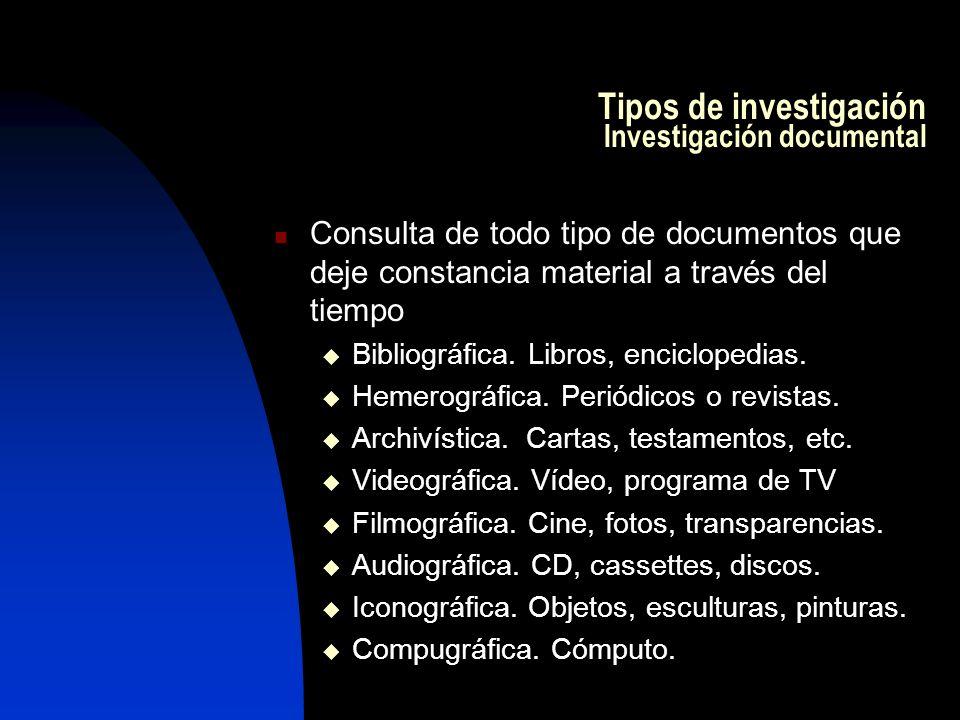 Tipos de investigación Investigación documental