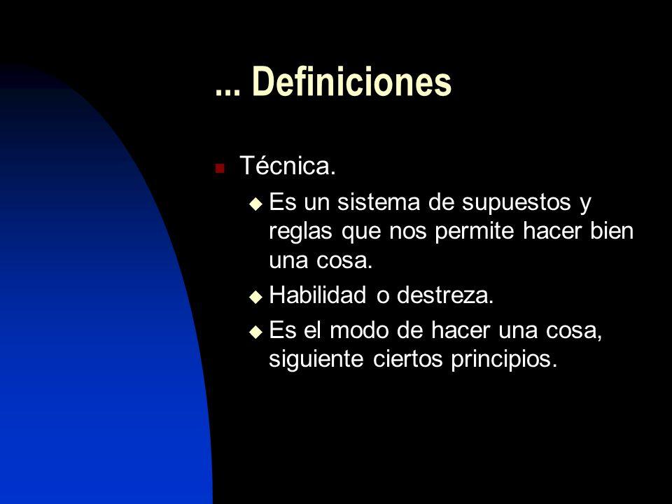 ... Definiciones Técnica. Es un sistema de supuestos y reglas que nos permite hacer bien una cosa.