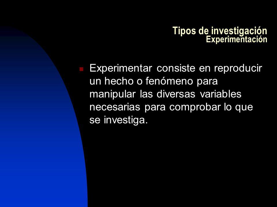 Tipos de investigación Experimentación