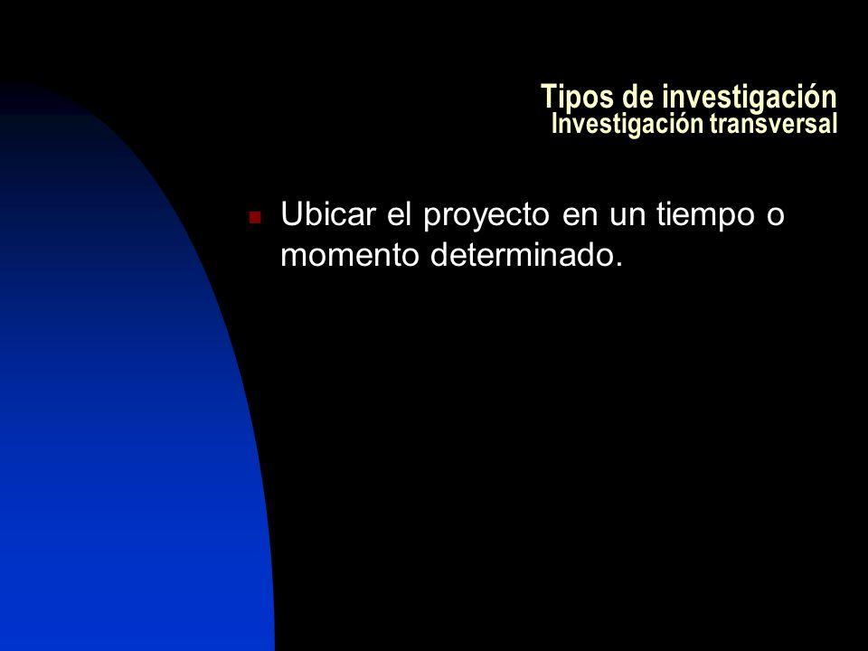 Tipos de investigación Investigación transversal