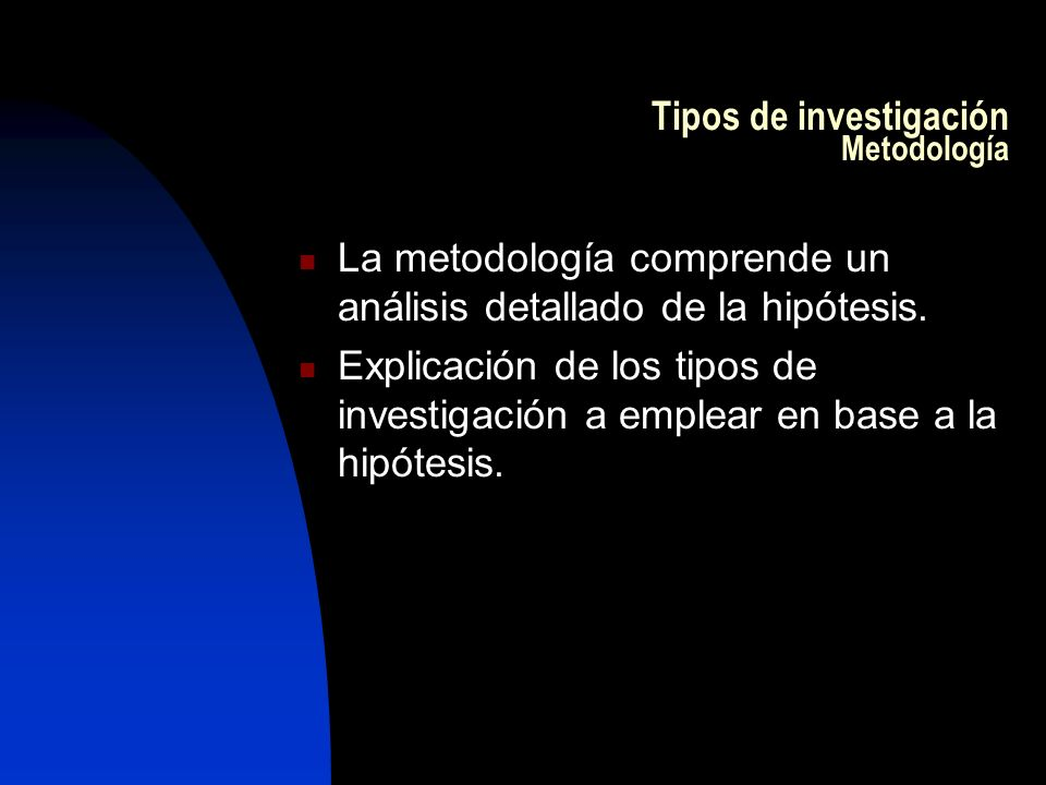 Tipos de investigación Metodología