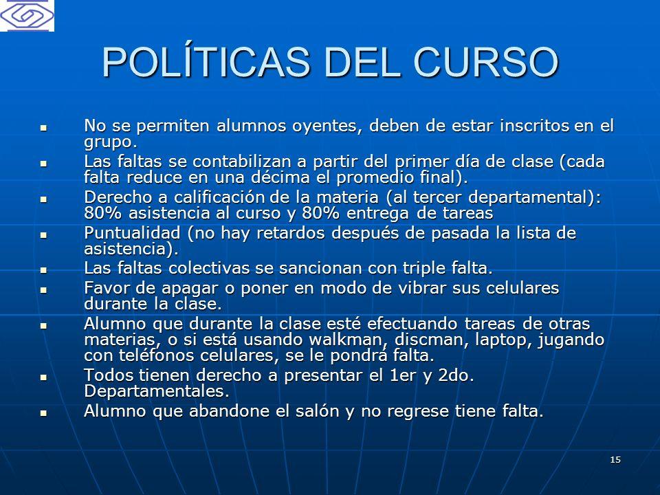 POLÍTICAS DEL CURSO No se permiten alumnos oyentes, deben de estar inscritos en el grupo.