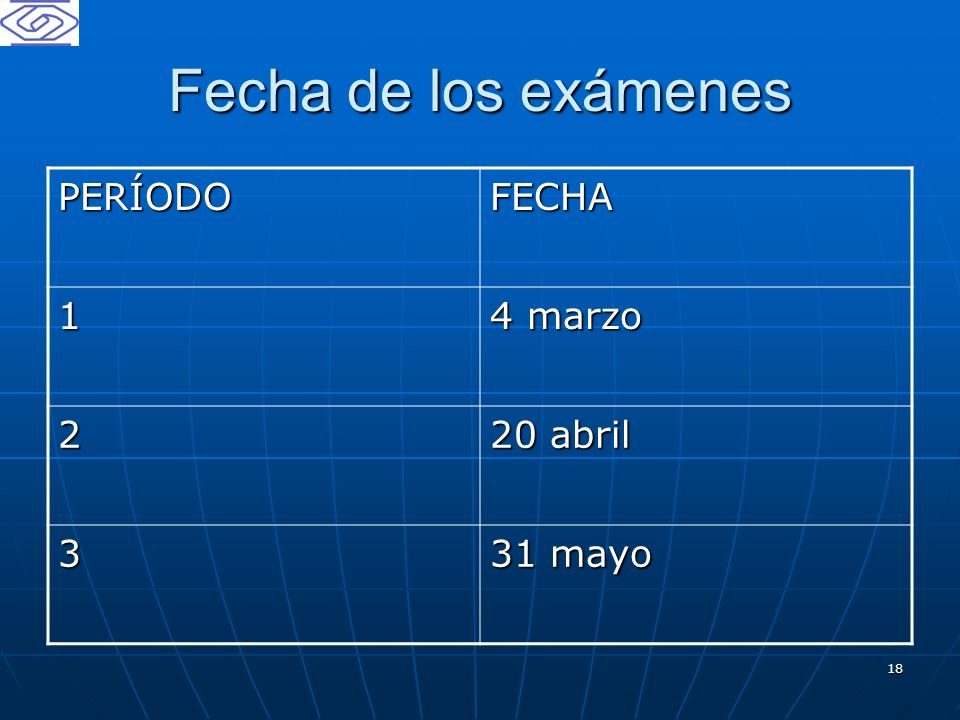 Fecha de los exámenes PERÍODO FECHA 1 4 marzo 2 20 abril 3 31 mayo