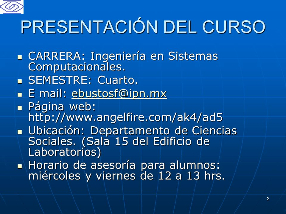 PRESENTACIÓN DEL CURSO