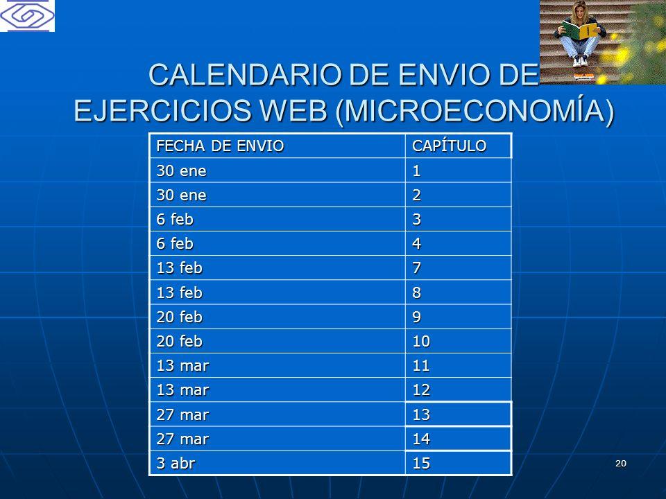 CALENDARIO DE ENVIO DE EJERCICIOS WEB (MICROECONOMÍA)