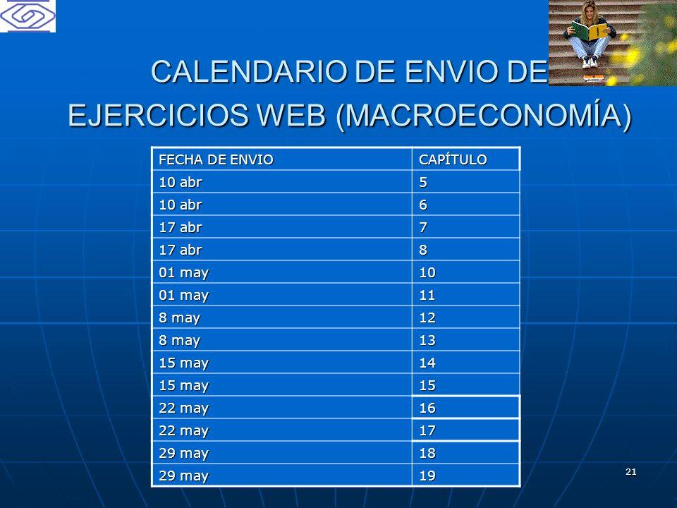 CALENDARIO DE ENVIO DE EJERCICIOS WEB (MACROECONOMÍA)