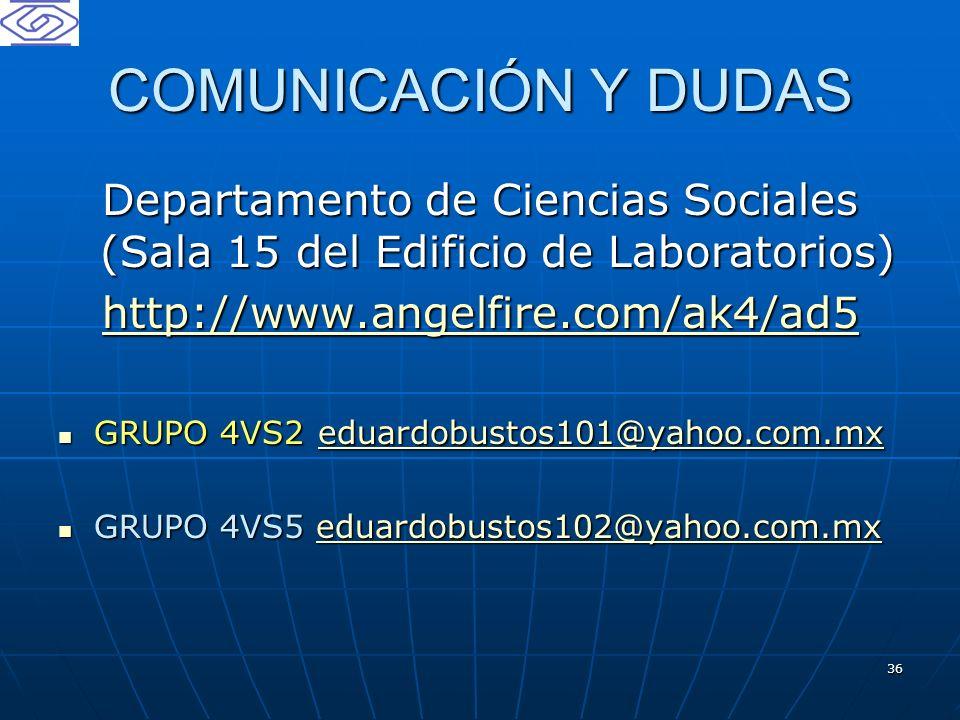 COMUNICACIÓN Y DUDAS Departamento de Ciencias Sociales (Sala 15 del Edificio de Laboratorios) http://www.angelfire.com/ak4/ad5.