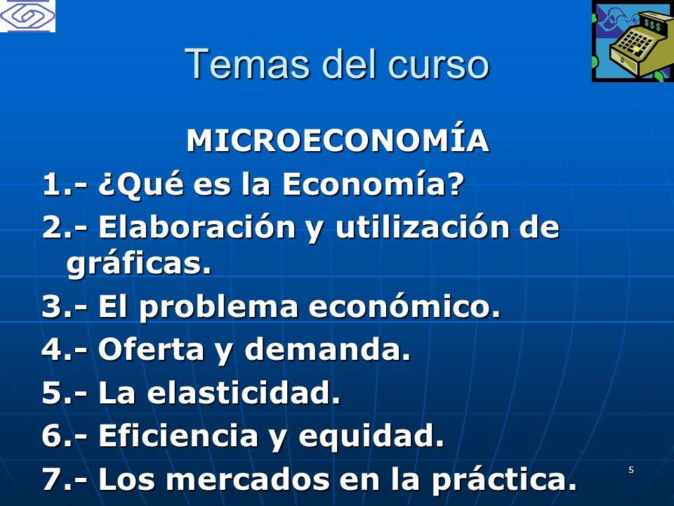 Temas del curso MICROECONOMÍA 1.- ¿Qué es la Economía