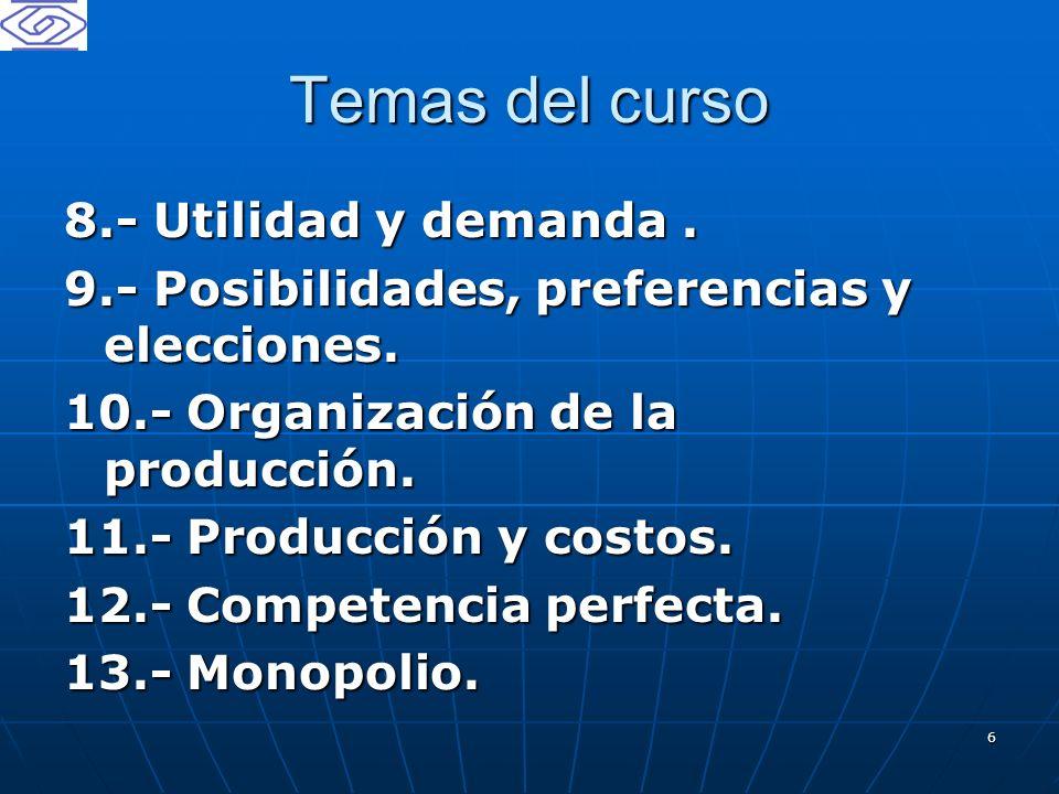 Temas del curso 8.- Utilidad y demanda .