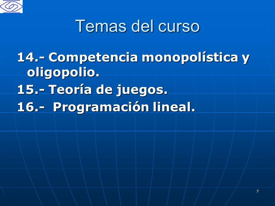 Temas del curso 14.- Competencia monopolística y oligopolio.