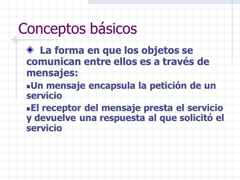 Conceptos básicos La forma en que los objetos se comunican entre ellos es a través de mensajes: Un mensaje encapsula la petición de un servicio.