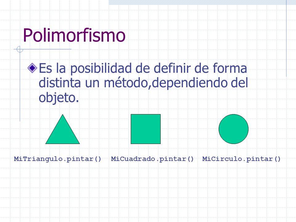 Polimorfismo Es la posibilidad de definir de forma distinta un método,dependiendo del objeto. MiTriangulo.pintar()