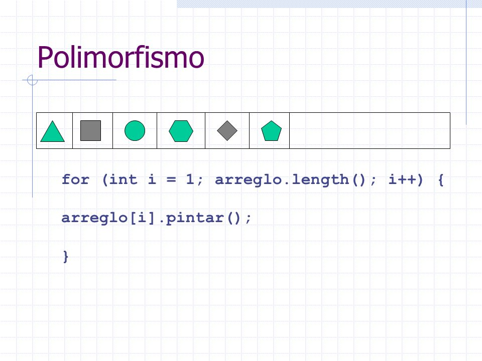Polimorfismo for (int i = 1; arreglo.length(); i++) {