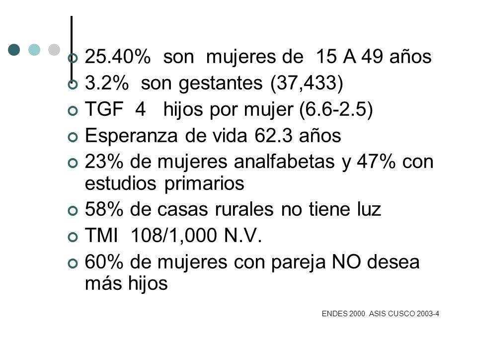 25.40% son mujeres de 15 A 49 años 3.2% son gestantes (37,433) TGF 4 hijos por mujer (6.6-2.5)