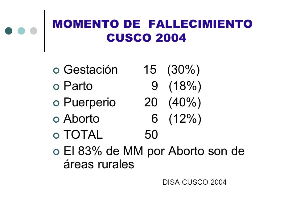 MOMENTO DE FALLECIMIENTO CUSCO 2004